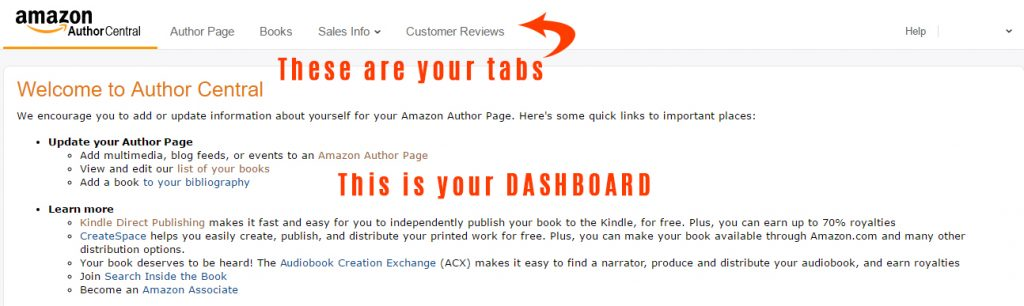 Author Central Dashboard