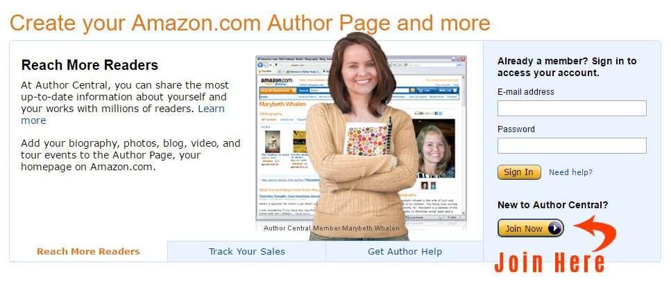 Amazon Author Central Step 1